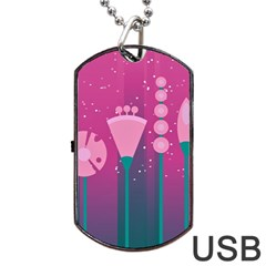 Floral Flowers Abstract Pink Dog Tag Usb Flash (one Side)
