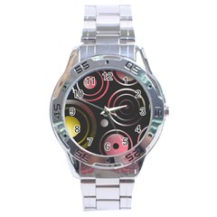 Circles Pinks Yellows Design Stainless Steel Analogue Watch