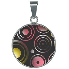 Circles Pinks Yellows Design 25mm Round Necklace