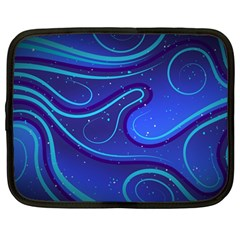 Wavy Abstract Blue Netbook Case (large)