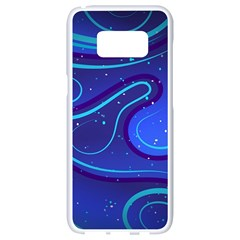 Wavy Abstract Blue Samsung Galaxy S8 White Seamless Case by Pakrebo