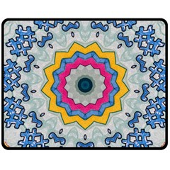 Kaleidoscope Bright Flower Mandala Fleece Blanket (medium)