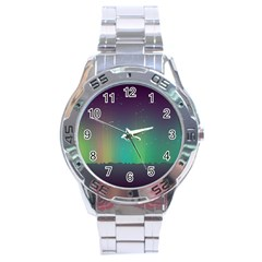Background Colors Abstract Green Stainless Steel Analogue Watch