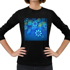 Bokeh Floral Blue Design Women s Long Sleeve Dark T Shirt