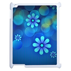 Bokeh Floral Blue Design Apple Ipad 2 Case (white)