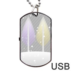 Winter Season Simple Pastels Grey Dog Tag Usb Flash (one Side)