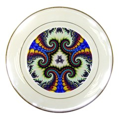 Abstract Texture Fractal Figure Porcelain Plates by Pakrebo