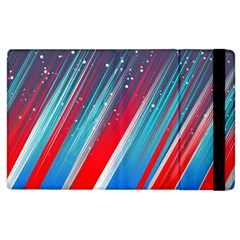 Abstract Red White Blue Feathery Apple Ipad 3/4 Flip Case by Pakrebo