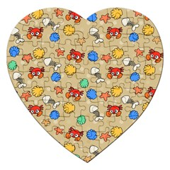 Crabs Pattern Jigsaw Puzzle (heart) by Valentinaart