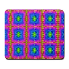 Groovy Pink Blue Yellow Square Pattern Large Mousepads