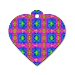 Groovy Pink Blue Yellow Square Pattern Dog Tag Heart (one Side)