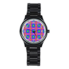 Groovy Pink Blue Yellow Square Pattern Stainless Steel Round Watch