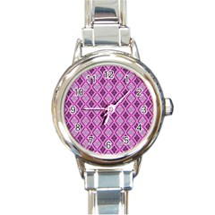 Argyle Large Pink Pattern Round Italian Charm Watch by BrightVibesDesign