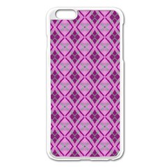 Argyle Large Pink Pattern Iphone 6 Plus/6s Plus Enamel White Case by BrightVibesDesign