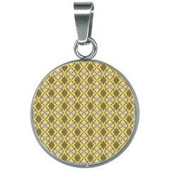 Argyle Large Yellow Pattern 20mm Round Necklace by BrightVibesDesign