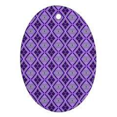 Argyle Large Purple Pattern Ornament (oval) by BrightVibesDesign