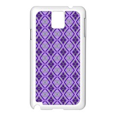 Argyle Large Purple Pattern Samsung Galaxy Note 3 N9005 Case (white) by BrightVibesDesign