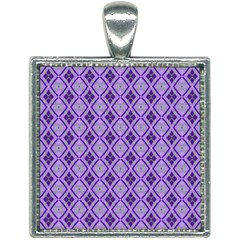 Argyle Large Purple Pattern Square Necklace by BrightVibesDesign