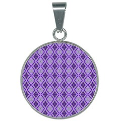 Argyle Large Purple Pattern 25mm Round Necklace by BrightVibesDesign