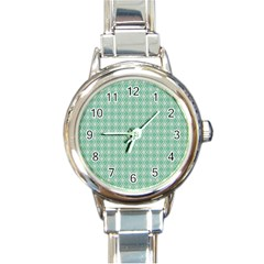 Argyle Light Green Pattern Round Italian Charm Watch by BrightVibesDesign