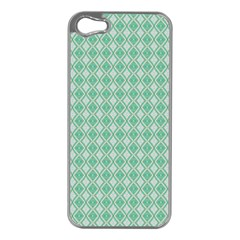 Argyle Light Green Pattern Iphone 5 Case (silver) by BrightVibesDesign