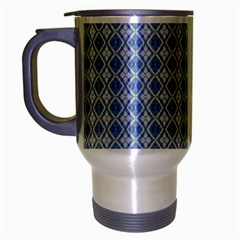 Argyle Light Blue Pattern Travel Mug (silver Gray) by BrightVibesDesign