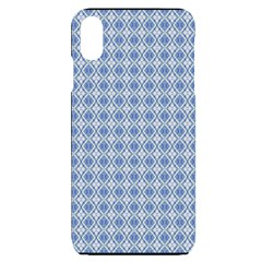 Argyle Light Blue Pattern Iphone Xs Max by BrightVibesDesign