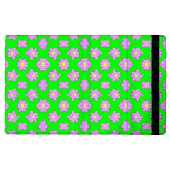 Modern Pink Flowers  On Green Apple Ipad Pro 9 7   Flip Case