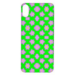 Modern Pink Flowers  On Green Iphone X/xs Soft Bumper Uv Case