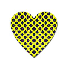 Modern Dark Blue Flowers On Yellow Heart Magnet by BrightVibesDesign