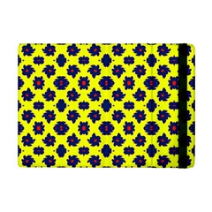 Modern Dark Blue Flowers On Yellow Ipad Mini 2 Flip Cases by BrightVibesDesign