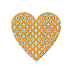 Modern Blue Flowers  On Orange Heart Magnet by BrightVibesDesign