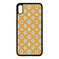 Modern Blue Flowers  On Orange Iphone Xs Max Seamless Case (black) by BrightVibesDesign