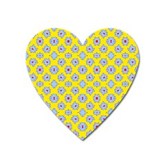 Modern Blue Flowers  On Yellow Heart Magnet by BrightVibesDesign