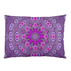 Beautiful Floral Wreaths And Flowers Around The Earth Pillow Case (two Sides) by pepitasart