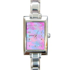 Pink And Blue Sensation Rectangle Italian Charm Watch