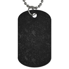 Romantic Black Flowers Dog Tag (two Sides) by TimelessFashion