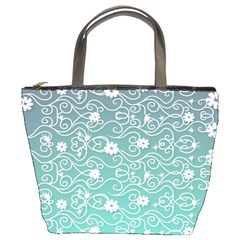 Sweet Flowers In Turquoise Bucket Bag by TimelessFashion