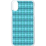 Cute Flowers Vines Pattern Pastel Turquoise iPhone XS Seamless Case (White) Front