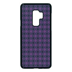 Argyle Dark Pink Black Pattern Samsung Galaxy S9 Plus Seamless Case(black) by BrightVibesDesign