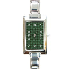 Argyle Dark Green Brown Pattern Rectangle Italian Charm Watch by BrightVibesDesign