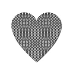 Ornate Oval Pattern Grey Black White Heart Magnet by BrightVibesDesign