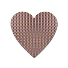 Ornate Oval  Pattern Yellow Blue Heart Magnet by BrightVibesDesign