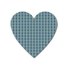 Ornate Oval  Pattern Blue Orange Heart Magnet by BrightVibesDesign