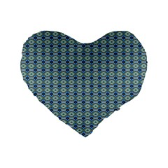 Ornate Oval  Pattern Blue Orange Standard 16  Premium Flano Heart Shape Cushions by BrightVibesDesign