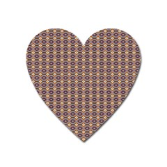 Ornate Oval Pattern Brown Blue Heart Magnet by BrightVibesDesign