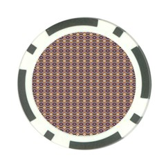 Ornate Oval Pattern Brown Blue Poker Chip Card Guard by BrightVibesDesign