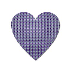 Ornate Oval Pattern Purple Green Heart Magnet by BrightVibesDesign