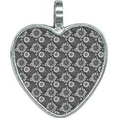 Flowers Delight In Grey Heart Necklace by TimelessFashion