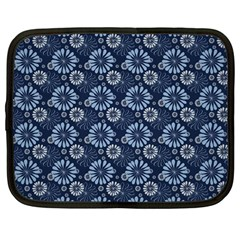 Flowers Delight Blue Netbook Case (large) by TimelessFashion